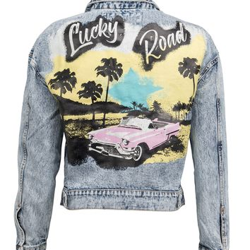Lucky Road Pink Cadillac Denim Jacket