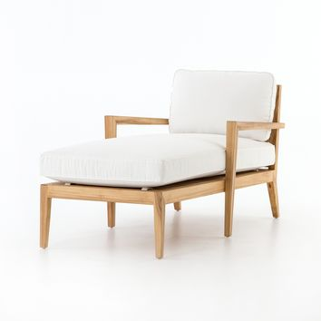 Laurent Outdoor Chaise | Canvas White