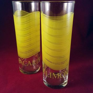 Bacardi Limon Rum Highball Glasses.  S/2