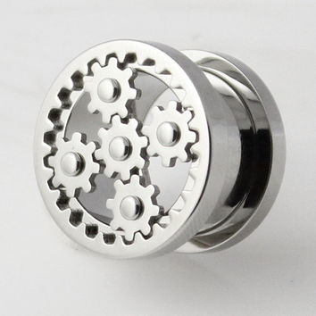 Movable Steampunk Web Stainless Steel Screw Fit Double Flared Plugs Flesh Tunnel Plug