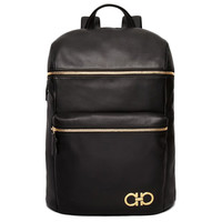 Black Leather Gold Emblem Backpack by Ferragamo