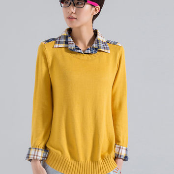 Plaid Accent Shirt Collar Long Sleeve Sweater