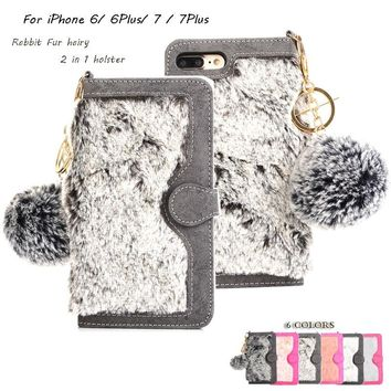 Rabbit hair Case For iphone 7 7 Plus Fuzzy Fur Leather+Card Slot Phone Cover For iphone 6 Magnetic Detachable Flip Wallet Case