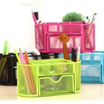Compartments Desk Organizer Pen Holder Rack Office Stationary Black Colour