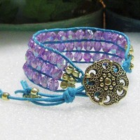 Triple Row Beaded Cuff Bracelet With Purple Faceted Acrylic Beads