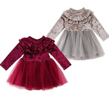 New Toddler Infant Pageant Kids Baby Girl Dress Velvet Fleece Birthday Party Dress Tulle Tutu Long Sleeve Dress 1-6T