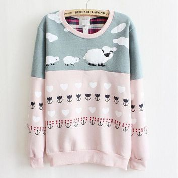 PEAPON Cartoon sheep pattern Round neck sweater