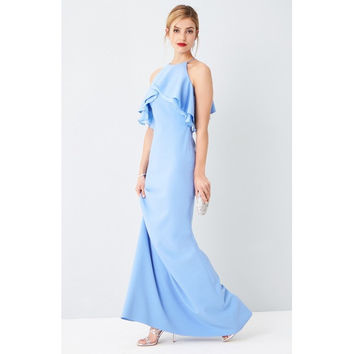 Ruffle Shoulder Gown