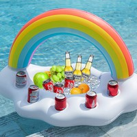 Inflatable Rainbow Cloud Floating Drink Holder