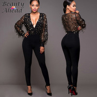 New Arrival Black Silm Tassel Sparkly Jumpsuit Rompers 2016 Autumn Women Deep V Neck Sexy Hollow Out Long Sleeve Femme Jumpsuits