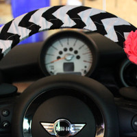 Black and White Chevron Steering Wheel Cover with by PickleAndRaRa