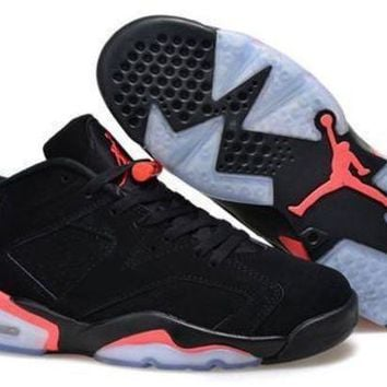 Hot Air Jordan 6 Low Women Shoes Deep Infrared Black