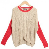 Round Neck Collision color long sleeve irregular pullover  Collision Pop  style zz917002 in  Indressme