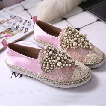 Pink Round Toe Flat Beads Casual Ankle Shoes