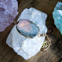 Labradorite Gemstone Choker - Gemstone Jewelry Trendy Crystal Necklace Boho Chic Modern Gypsy Gypset Style Gifts for Teens Gifts for Her