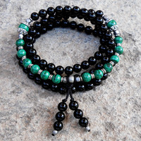 Intuition and Patience, 108 bead mala onyx and malachite wrap bracelet or necklace