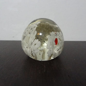 Vintage Small Clear Glass Paperweight with White Art Flower Design with a Splash of Red