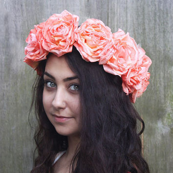 Peach Coral Rose Flower Crown - Large Vintage Rose Crown. Floral Headdress, Bohemian Summer Fashion Accessory, Bridal Crown. Gypsy