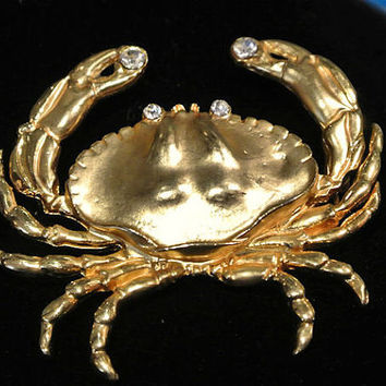 Crab Rhinestone Brooch Matte Gold Shiny High Polish Sea Animal Ocean Beach Tropical Capricorn 1980s 80s Retro Animal Critter Jewelry Pin