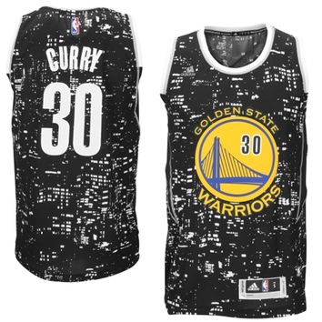 Mens Golden State Warriors Stephen Curry adidas Black City Lights Fashion Swingman Jersey