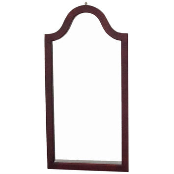 Arc Top Vanity Accent Wall Mirror in Cherry Wood Finish