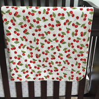 Baby Girl Blanket, Cherries Baby Blanket, Cherry Bedding, Crib Bedding, Flannel Baby Blanket, Ready to Ship