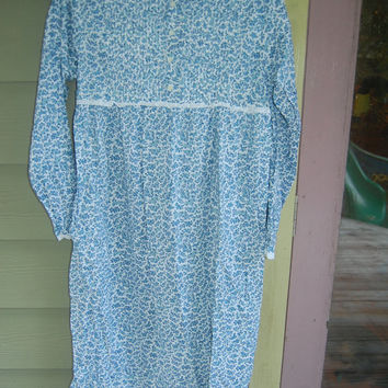 Vintage Laura Ashley Little House on the Prairie Romantic Floral Storybook Long Nightgown Size Small