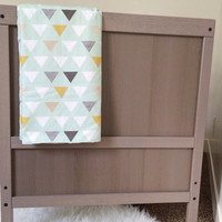 Baby Blanket - Minky & Mod Mint Print with Grey, Taupe, Mustard, and White Triangles