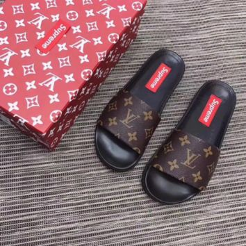 Louis Vuitton X Supreme Flip Flop Sandal Slippers with Box