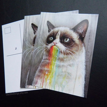 Grumpy Cat Post Card, Geek, Meme, Rainbow