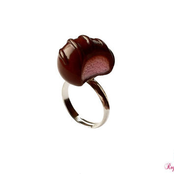 Chocolate Ring, Valentines Jewelry, Gifts for Her, Chocolate Jewelry, Food Jewelry, Mothers Day, Chocolate Lovers, Miniature Food