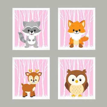 Forest Animals on Light Pink, Woodland Animals, CUSTOMIZE COLORS, 8x10 Prints, set of 4, Nursery Decor, Animal Print, Baby Girl Wall Prints