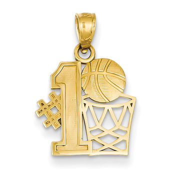 14k #1 Basketball Story with Hoop Pendant C3779
