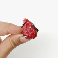 Scarlet Red Druzy Stone Ring, Bold Unique Style Statement Ring