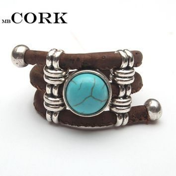 Natural Cork round stone ceramic stone ring Antique Sliver vintage women Ring original adjustable  wooden jewelry R-039