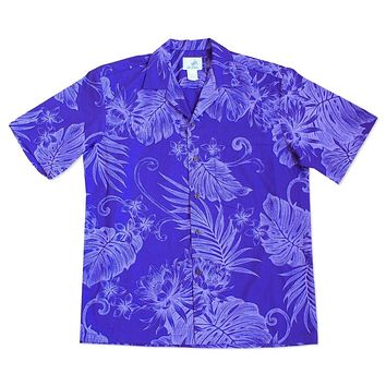 monstera ceres purple hawaiian cotton shirt