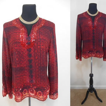 """Vintage """"Unique Spectrum"""" Red, Blouse, Indian Inspired, Sequins and Glitter Accents, Zippered, Slits on Sleeves and Side Seams, Size Large"""