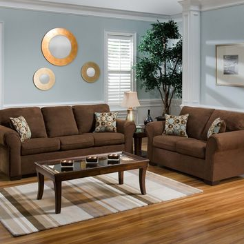 Simmons 1640 Flat Suede Chocolate Microfiber Sofa and Loveseat