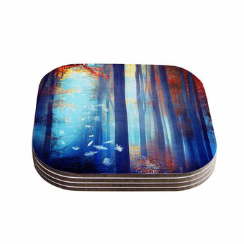 "Viviana Gonzalez ""Dreams In Blue"" Red Trees Coasters (Set of 4)"