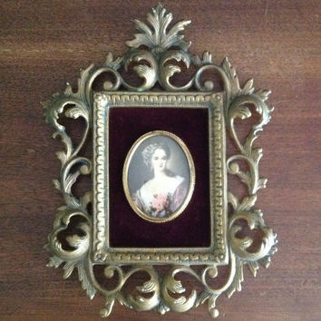 A Cameo Creation portrait art Lady Dover bubble glass gold ornate rococo baroque frame Victorian Paris apartment home decor wall hanging