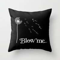 Blow me Vintage Dandelion Flower Throw Pillow by RexLambo