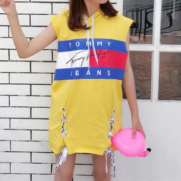 DCCKXT7 Tommy Jeans' Fashion Personality Multicolor Letter Pattern Print Sleeveless Vest Hooded Mini Dress
