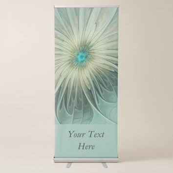 Modern Abstract Art Fantasy Flower Turquoise Text Retractable Banner