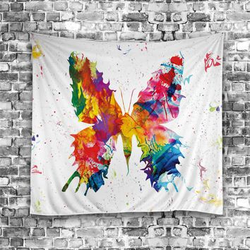 Cute animal Tapestry Finds Itself With Cartoon Sky Wall Tapestry Wall Hanging Printed Art Quilt Rug butterfly