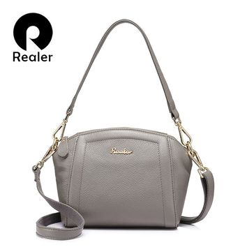 REALER brand fashion women genuine leather bag female shoulder handbag hign quality crossbody bag Taro Purple/Gray/Red/Black
