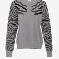 torn by ronny kobo Zebra Stripe Sweater: Grey-Tops-Clothing-Categories- IntermixOnline.com