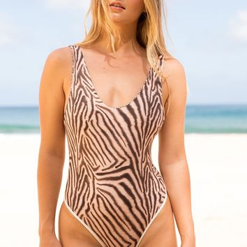 ACACIA Swimwear 2019 Palm Springs One Piece in Zebra