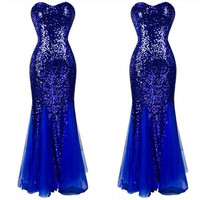 Sequins Prom Dresses Sleeveless Tulle Formal Evening Party Cocktail Ball Gown [8384273479]