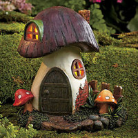 Solar Lighted Toadstool Gnome Or Fairy Home Yard Garden Flower Bed Outdoor Decor