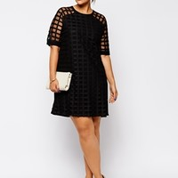 ASOS CURVE Exclusive Shift Dress In Cage Mesh - Black